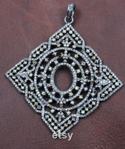 Antique and Beautiful Square Geometrical designer pendant Rosecut pave diamond pendant 925 Sterling silver handmade finish diamond jewelry65mm