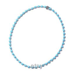 Arizona Sleeping Beauty Turquoise Necklace, Silver Swiss Blue Topaz Tennis Necklace, Handmade Jewelry Gift, Natural Round Turquoise Necklace