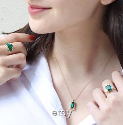 Art deco Diamond and Emerald necklace, Green Emerald , gold necklace, Emerald jewelry, May birthstone, Emerald pendant, Green gemstone