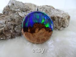 Aurora Borealis Northern Lights Resin Wood Round Pendant Necklace Purple Green Anniversary Gift