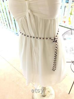 Authentic Vintage Natural BLACK And White Hand Knotted PEARL Very Long Necklace, Belt, Wedding, Bride, Bridesmaid, Family Heirloom