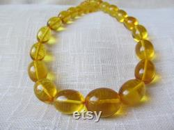 Baltic Amber Necklace, Yellow Olive Bead, Necklace Amber Oval, Hand carved Bead Amber, Amber Handmade Jewelry