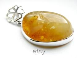 Baltic Amber Sterling Silver Pendant, Yellow Amber and Silver 925, Natural Amber, Modern Style, Minimalist Design, Clover.