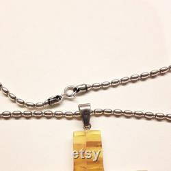 Baltic amber pendant cross with silver 925 chain, Catholic natural amber cross