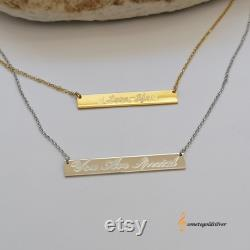 Bar Necklace 14K Gold , Gold Bar necklace, Coordinates Necklace, Personalized Bar Necklace, Bar Name necklace, Initial Necklace