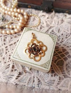 Beautiful French Vintage Gold Plated 3D Rose Pendant, Flower Vintage Necklace, French Art Deco Jewelry, Vintage Wedding, Gift for Her