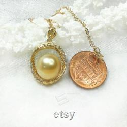 Big South Sea Golden Pearl Pendant, 11-11.5 MM Golden Cultured Pearl In 18K Gold Plate Pendant, South Sea Pearl And Vermeil Silver Pendant