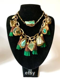 Bollywood Style Green and Gold Chunky Choker STATEMENT NECKLACE OOAK Wearable Art Necklace by Pauletta Brooks Lush Mixed Mineral Necklace