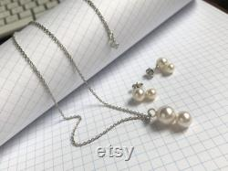 Bridesmaid Necklace with Double Pearl Pendant, Modern Pearl Jewelry with Natural White Pearls