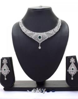 CZ Necklace Delicate Necklace Indian Necklace set Indian wedding jewelry American Diamond necklace