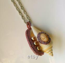 Cameo on Shell Statement Pendant Beaded Beadwoven Shell Pendant Genuine Pearl Pendant Nautical Jewelry Sea Treasures by ileanaEnchantedBeads