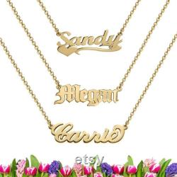 Carrie Necklace 14k solid gold Personalized Necklace 14k Gold Name Necklace Personalized Gold Jewelry Initial Necklace