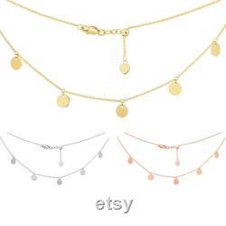 Choker Necklace 14K Solid Gold, Dangle Disk Necklace, Dainty Coin Choker, Layered Choker, Minimalist Choker, Adjustable Necklace