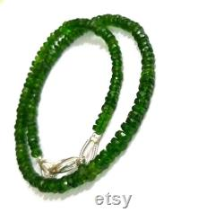 Chrome Diopside Beads Necklace, Natural Chrome Diopside 3-4mm Jewelry Necklace, Faceted Dainty Chrome Jewellery, Beaded Tiny Necklace