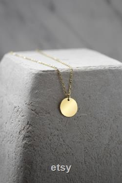 Coin Necklace, 14k Solid Gold Disk Initial Necklace, Monogram Necklace, Personalized Necklace, Gold Coin Pendant, Circle Pendant