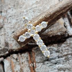 Cross Moissanite Pendant, Round Cut Colorless Moissanite Pendant, Yellow Gold Charm Pendant, Wedding Pendant For Bride, Anniversary Gifts