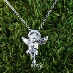 Cubic zirconia necklace angel, Vintage goth necklace, 925 Sterling silver pendant necklace