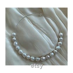 Cultured Baroque Freshwater Pearl Silver Neck Collar , 16 Inch White Freshwater Pearl Necklace, Pearl Choker,Statement Pearl Necklace,Bridal