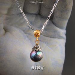Custom Made to Order Kasumi-like Wrinkle Pearl Necklace with Marcasite