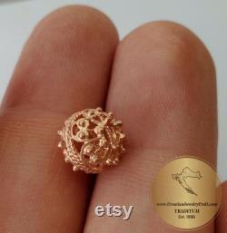 Dainty Sliding 14k Rose Gold Pendant, Traditional Croatian Jewelry, Minimalist Pink Gold Pendant, Gold Filigree Slide Ball Pendant