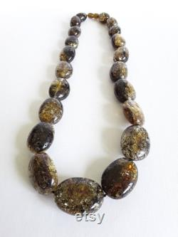 Dark Baltic amber necklace for women, Beaded amber necklace