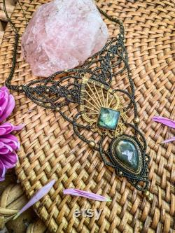 Dark olive green double labradorite and brass macrame necklace