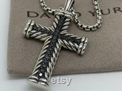 David Yurman Pave Black Diamond Chevron Cross Necklace