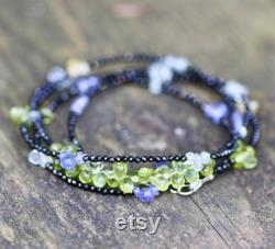 Diamond Look Natural Black Spinel, Tanzanite, Sapphire , Peridot Layering Necklace Wrap Bracelet Solid 14K White Gold , August Birthstone