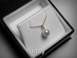 Diamond Pearl Necklace, 14K Pearl Necklace, Genuine Freshwater Pearl Pendant, Solitaire Diamond, 14K Yellow Gold, Bridal Wedding Jewelry