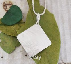 Diamond Shaped Pendant with Faceted Peridot in Sterling Silver, Green Gemstone and 22k Gold Jewelry