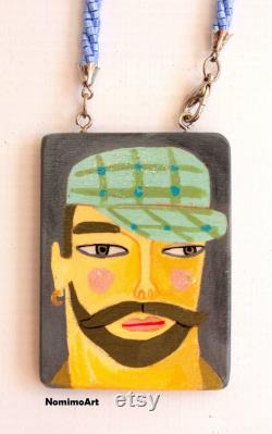 Double Sided Man pendant Hipster Bearded Long Wooden Wearable Art Necklace Illustrated Jewelry Art to Wear