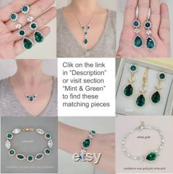 Emerald Bridal Jewelry, Emerald Necklace Earrings Set, Backdrop Necklace, Back drop Necklace, Green Crystal Jewelry Set, Silver
