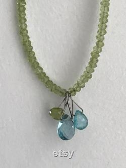 Estate Peridot Bead Sterling Silver Necklace with Peridot and Blue Topaz Dangles