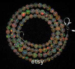 Ethiopian Opal Gemstone Beaded Necklace 42 Ct AAA Quality Natural Ethiopian Opal Beads Electric Fire 16 Inches Length Opal Beads Necklace