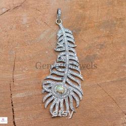 Ethiopian Opal Pendant, Pave Diamond Pendant, Sterling Silver Jewelry, 16 Silver Chain, Peacock Feather Pendant, Diamond Silver Pendant