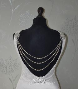 Exquisite Bridal Back Drape, Back Jewellery, Using Swarovski Pearls and Crystals Backdrop Necklace, Vintage Inspired Shoulder Necklace
