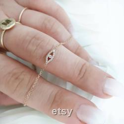Eye Diamond Bracelet 14k In Solid gold Natural Diamond Bracelet Evil Eye Necklace Dainty Daimond Bracelet Anniversary Gift