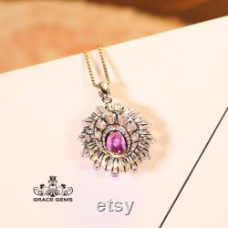 Flower Shape Genuine Padparadscha Pink Sapphire Pendant in 18k gold with diamonds and Travorite as eyes One of a kind Necklace Anniversary