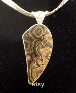 Flowering Tube Onyx Sterling Silver Pendant.