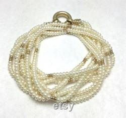 Freshwater Pearl Necklace with 14K Yellow Gold Beads and Clasp Four Strands Button Shape Pearls Wedding Bride Multi Strand 4257
