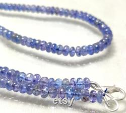 GOOD QUALITY TANZANITE Gemstone 97Ct Natural Blue Tanzanite Beads Necklace 18Inches Length Cabochon Beads Necklace Tanzanite Size 4x3 4x2MM