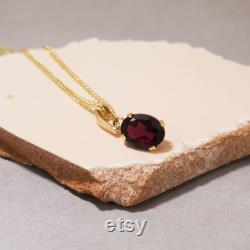 Garnet Pendant, 14K Yellow Gold Pendant Necklace, 8X10 Mm Red Gemstone, Charming Necklace, Garnet Necklace, Handmade, Jewelry For Women