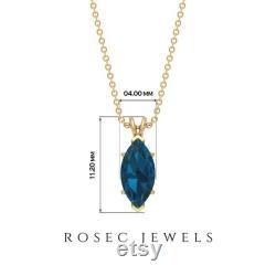 Gemstone Pendant Necklace, Blue Topaz London Gold 3 4 CT Handmade Pendant, Unique 8x4 MM Marquise Shape Charm Statement Engraved Pendant Set