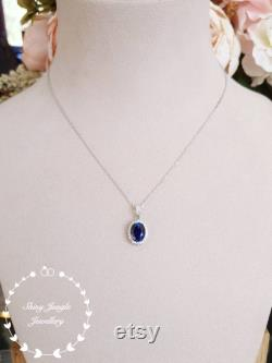 Genuine Lab Grown Royal Blue Sapphire Halo Necklace, 3 carats 8 10 Oval Sapphire, Classic Halo Sapphire Pendant, September Birthstone Gift
