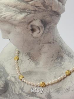 Genuine SWZ bead necklace with gold-plated silver intermediate parts