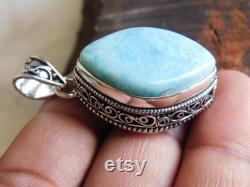 Genuine larimar pendant sterling silver pendant handmade Pendant christmas gift natural larimar gemstone Pendant pendant gift for her mp124