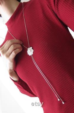 Gerbera Loop tie, Gerbera lariat, flower lariat, Gerbera Bouquet, Gerbera Y necklace, African Daisy Loop tie, flower Loop tie, silver lariat