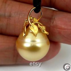Giant 17.77 x 18.45mm Organic Natural Golden Cream Australian South Sea Cultured Pearl Pendant 925 Sterling Silver SP1177