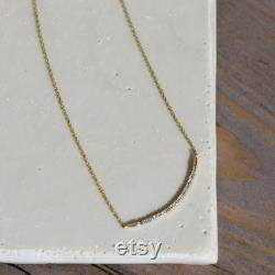 Gold Bar Necklace with Real Diamonds , Curved Diamond Bar Minimalist Necklace, Gold Bar necklaces for women, Black Friday , Gift for Her