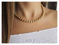 Gold Beads Necklace 14K Gold Filled Beaded Necklace 14K Gold Filled Necklace Beaded Chain Necklace 8mm Beads Beaucoupdebeads B224